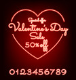Valentines day sale neon light web banner