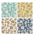 vintage rose flowers seamless patterns set vector image