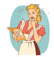 young woman with retro clothes cooking on kitchen vector image vector image