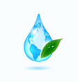 earth drop with green leaf vector image