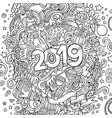 2019 hand drawn doodles contour line vector image