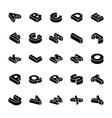3d alphabet letters glyph set vector image
