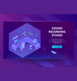 3d isometric site for sound recording vector image vector image