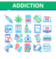 addiction bad habits collection icons set vector image vector image