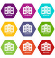 apartments icons set 9 vector image