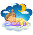 baby girl sleeping at night vector image