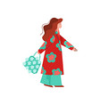 beautiful woman dressed in bright stylish seasonal vector image vector image