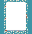 blank white frame on background with set of cute vector image vector image
