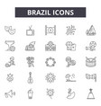 brazil line icons signs set outline vector image vector image