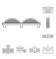 building and architecture outline icons in set vector image vector image