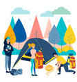 camping company on vacation in nature in vector image vector image