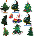 Cartoon Christmas trees with presents vector image vector image
