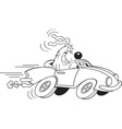Cartoon dog driving a car vector image vector image