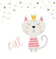 cat in crown isolated on white background vector image