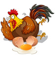 Chicken laughing and cracking egg vector image vector image