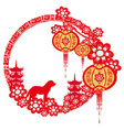 chinese zodiac the year of dog - frame vector image vector image