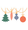 christmas toys hang on a garland vector image vector image