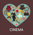 cinema commercial banner with cinematographic vector image