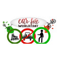 composition of hand drawn lettering world car vector image vector image