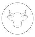cow head icon black color in circle vector image