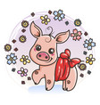 cute cartoon baby pig in love vector image