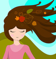 Cute girl with leaves in her hair which are vector image
