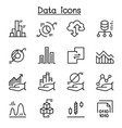 data diagram graph infographic icon set in thin vector image vector image