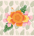 delicate exotic flowers foliage background vector image vector image