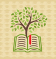 education concept with book and tree vector image vector image