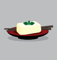 egg tofu on red plate bean curd japan style with vector image vector image