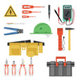 electrician tool flat set vector image vector image