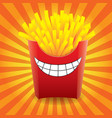funny french fries on striped background image vector image vector image