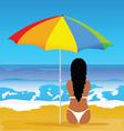 girl with bikini on beach vector image