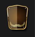 golden shield and laurel wreath retro design 14 vector image vector image
