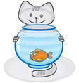 Grey cat and fish in the aquarium vector image
