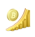 Growth chart with bitcoin sign vector image