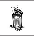 hand drawn sketch of open garbage can with waste vector image vector image