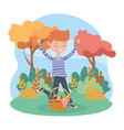 happy man with basket food picnic nature landscape vector image