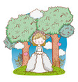 happy woman wedding with gown and trees vector image vector image