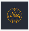 honey bee logo round linear logo honey comb vector image vector image