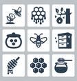 honey related icons set vector image vector image