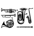 icons of wind musical instruments vector image vector image