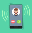 incoming call on mobile phone friend photo on vector image