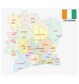 ivory coast administrative and political map vector image
