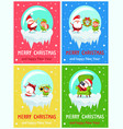merry christmas happy new year santa elf banners vector image vector image