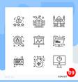modern pack 9 icons line outline symbols vector image vector image