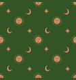 moon and sun celestial boho seamless pattern in vector image vector image