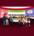 people in a yogurt ice cream store vector image