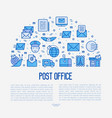 post office concept in half circle vector image vector image