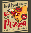 retro menu with slice of pizza vector image